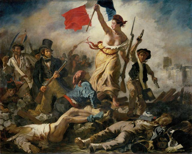 Eugène Delacroix: Liberty Leading the People, 1830, oil on canvas, 260 × 325 cm, Louvre, Paris (WikiCommons)